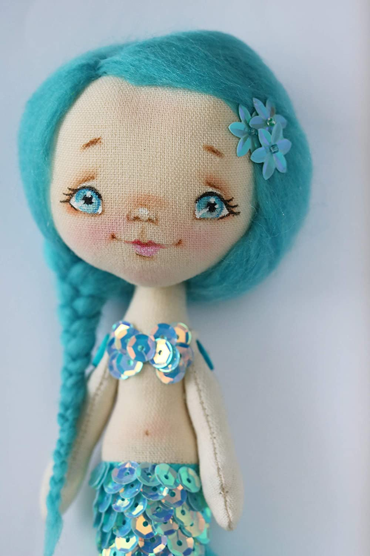 Mermaid Textile Doll Handmade Fabric Art Ragdoll