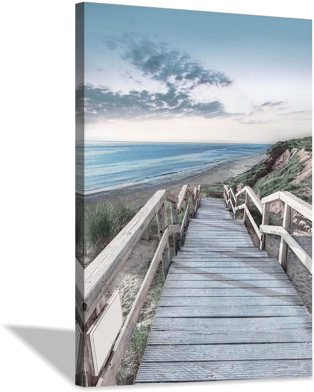 Beachside Wooden Path Wall Art: Bridge Boardwalk Stair Graphic Art on Wrapped Canvas for Wall Decor (24''x36'')