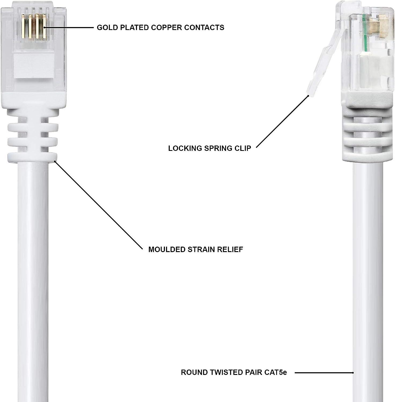 Cable de extensión de módem de ADSL, fibra óptica y banda ancha para conectar enrutadores a una combinación BT Openreach RJ11/RJ45 de teléfono y datos o microfiltro, de 1STeca 10 Metros blanco: