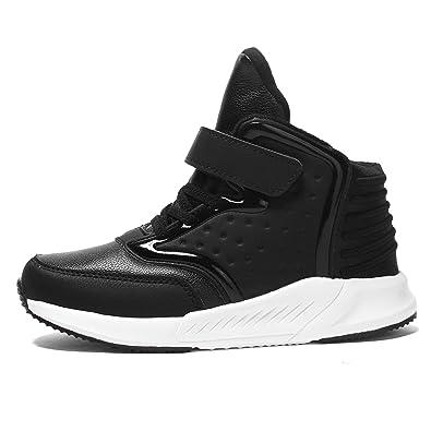 46369819b8dd9 Voovix Baskets Enfants Chaussures de Sport Sneakers Montantes pour Garçons  et Filles(Noir