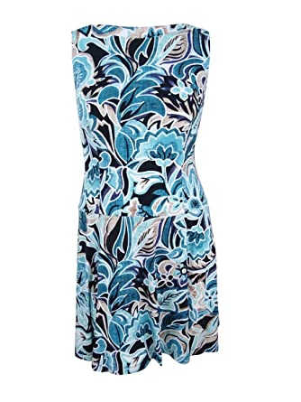 ed9d2fb9 Image Unavailable. Image not available for. Color: Connected Women's Floral- Print Fit & Flare Dress (16 ...