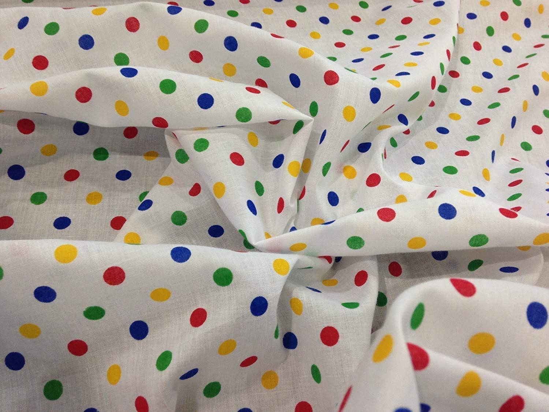 tela Blanca con puntos de colores primarios polialgodón (por metro ...