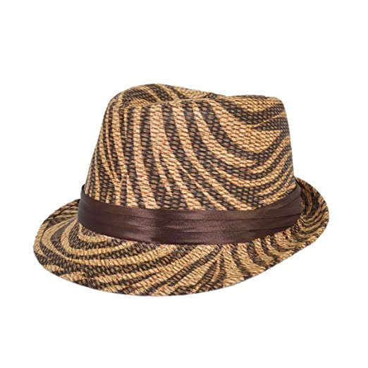 28d203f7c27 TrendsBlue Dark Brown Zebra Print Ribbon Band Fedora Straw Hat at ...