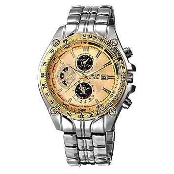 Xinantime Reloje Hombres,Xinan Militar de Acero Inoxidable Reloj de Pulsera Analógico (Oro): Amazon.es: Deportes y aire libre
