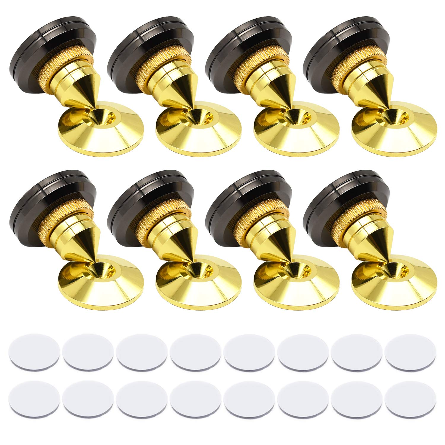 8 Set Golden Speaker Spikes, Speaker Stands Subwoofer CD Audio Amplifier Turntable Isolation Stand Feet Cone Base Pads