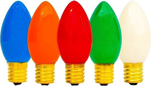 25 C9 Multicolor Opaque//Solid Color Bulbs Indoor//Outdoor Christmas Bulbs