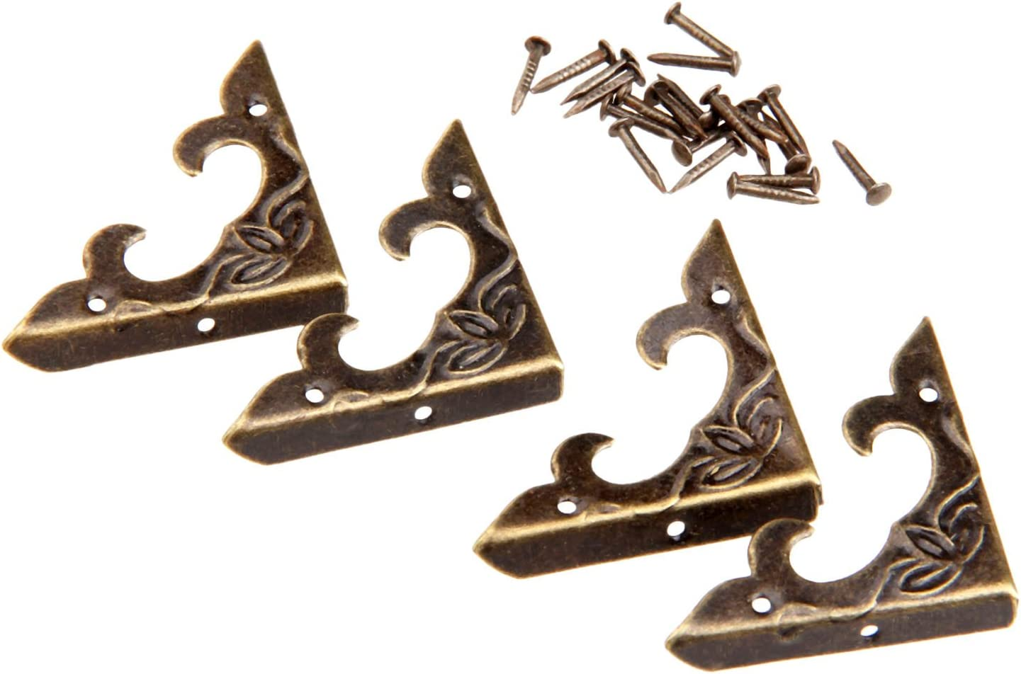 4Pcs 30x30x4.5mm Vintage Antique Brass Wood Box Bracket Case Chest Corner Protector Guard Decoration
