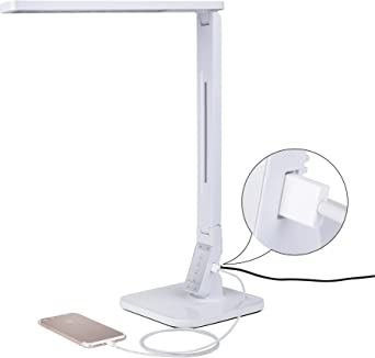 Verbitec Led Schreibtisch Lampe Mit 4 Verschiedenen Farbtemperaturen Hochwertige Arbeitsplatzleuchte Mit Usb Anschluss Als Ladefunktion Amazon De Beleuchtung