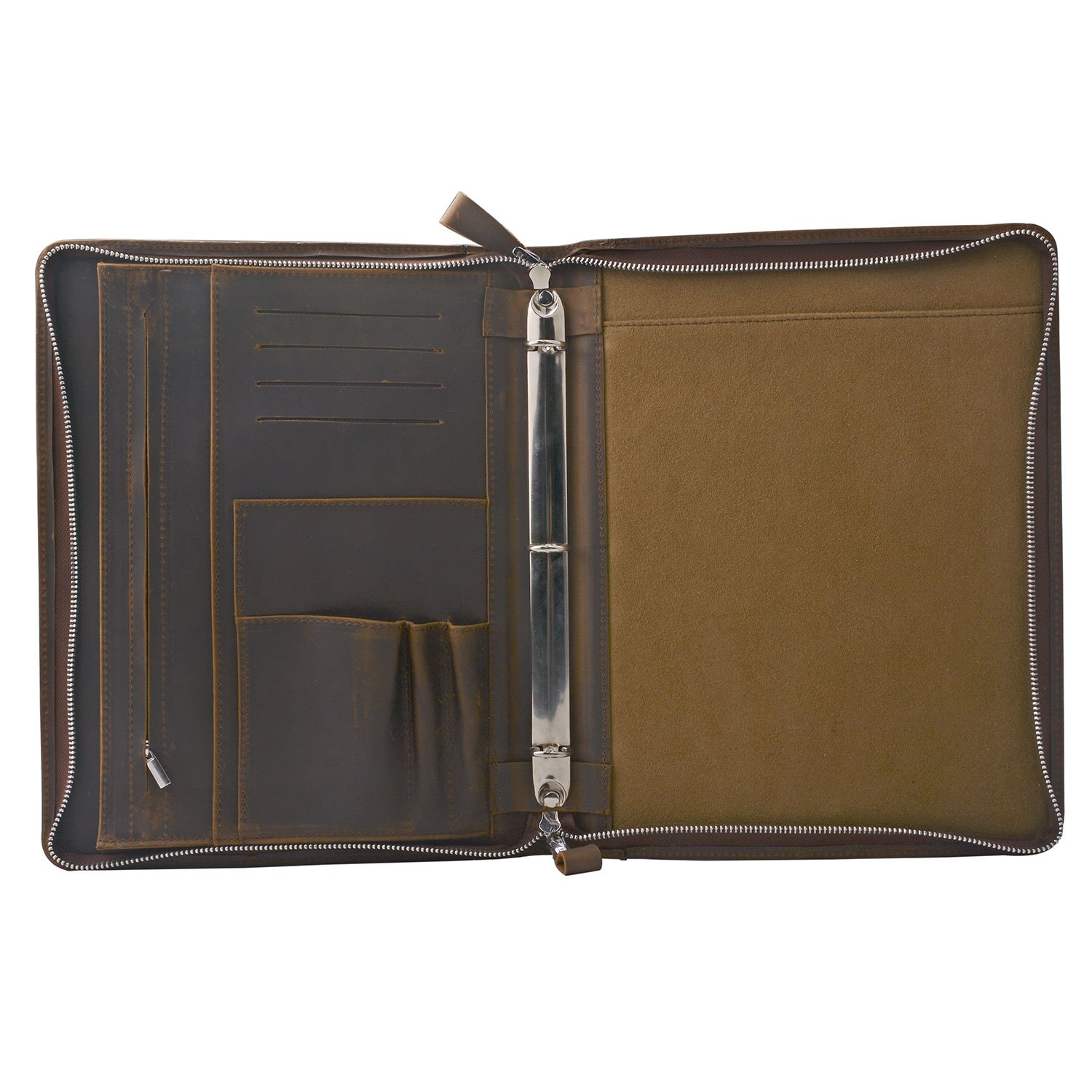 Rustic Leather Padfolio with 3-Ring Binder for Letter A4 Paper, 11-inch MacBook Air, Tan by iCarryAlls (Image #3)
