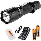 Rechargeable Bundle: Fenix TK16 1000 Lumen Tactical LED Flashlight, 2x Fenix 18650 Rechargeable Batteries, Two-Channel Smart Charger and LumenTac Battery Organizer