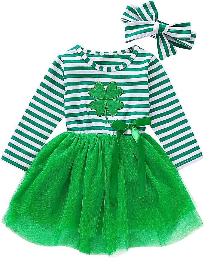 Baby Girl St.Patricks Day Skirt Set Toddler Girls Ruffle Sleeve Shirts Clover Suspender Dress Outfits