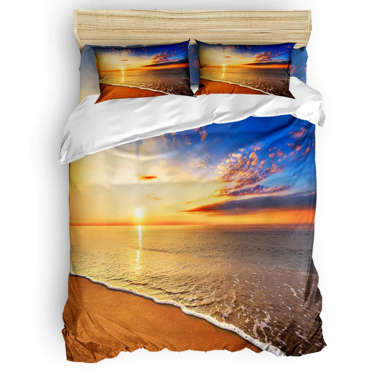 掛け布団カバー 4点セット 亀タートル ココナッツツ 海の波 寝具カバーセット ベッド用 べッドシーツ 枕カバー 洋式 和式兼用 布団カバー 肌に優しい 羽毛布団セット 100%ポリエステル キング B07TG8Y9XY sunriseLAS2781 キング