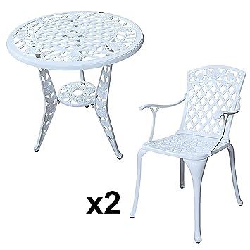 Lazy Susan   ROSE Bistrotisch Mit 2 Stühlen   Rundes Gartenmöbel Set Aus  Metall, Weiß