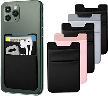 Most Android Smart Phones Pack of 6 Samsung Phone Wallet Stick On Senose Phone Card Holder Back of Phone Sleeve Pocket Phone Pouch Strong Adhesive Compatible with iPhone
