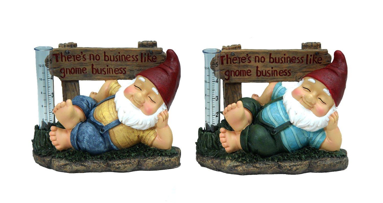 Mayrich One Decorative Garden Gnome Rain water Gauge measurement device - Assorted Colors 6.4'' H x 8'' W
