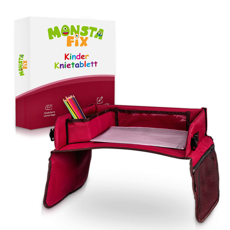 Monstafix/® Kinder Reisetisch Auto Inklusive Papier und Buntstiften Blau Doppelseitiges Knietablett 100/% Komfort Einstellbares Reisetablett