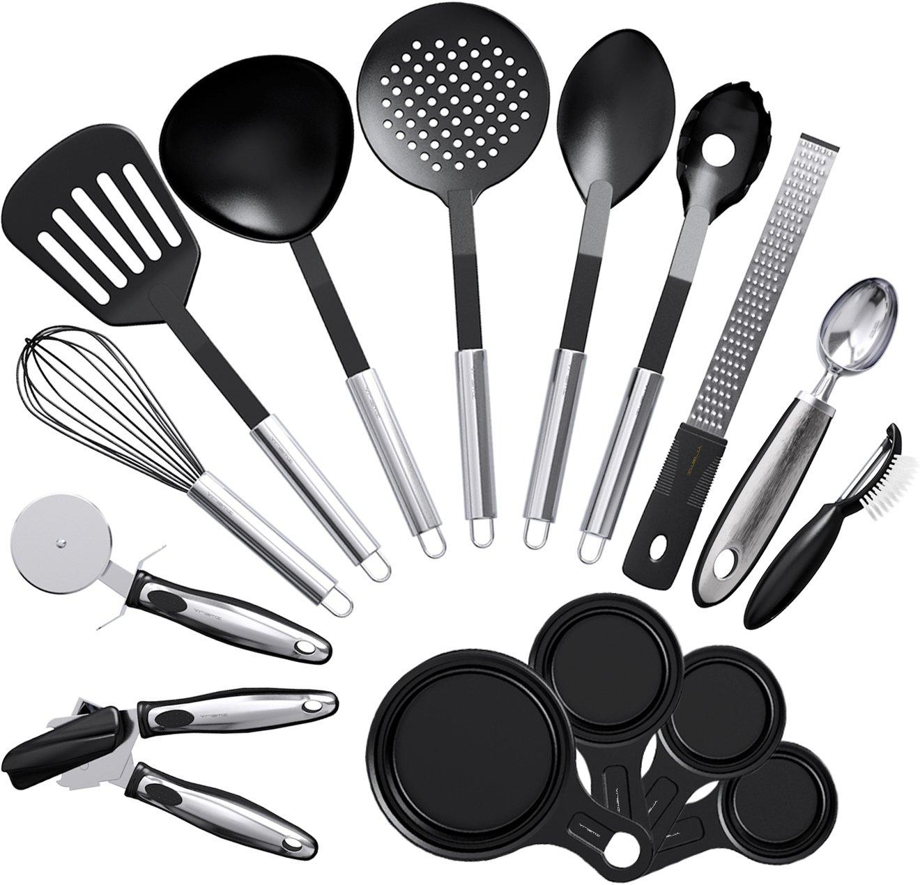 Vremi 15 Piece Kitchen Gadgets Cooking Utensils Set - Kitchen Gadgets and Tools Cooking Utensil Set - Unique Fun Cool Kitchen Gadgets with Plastic Cooking Utensils - Cute Useful Kitchen Gadget Sets