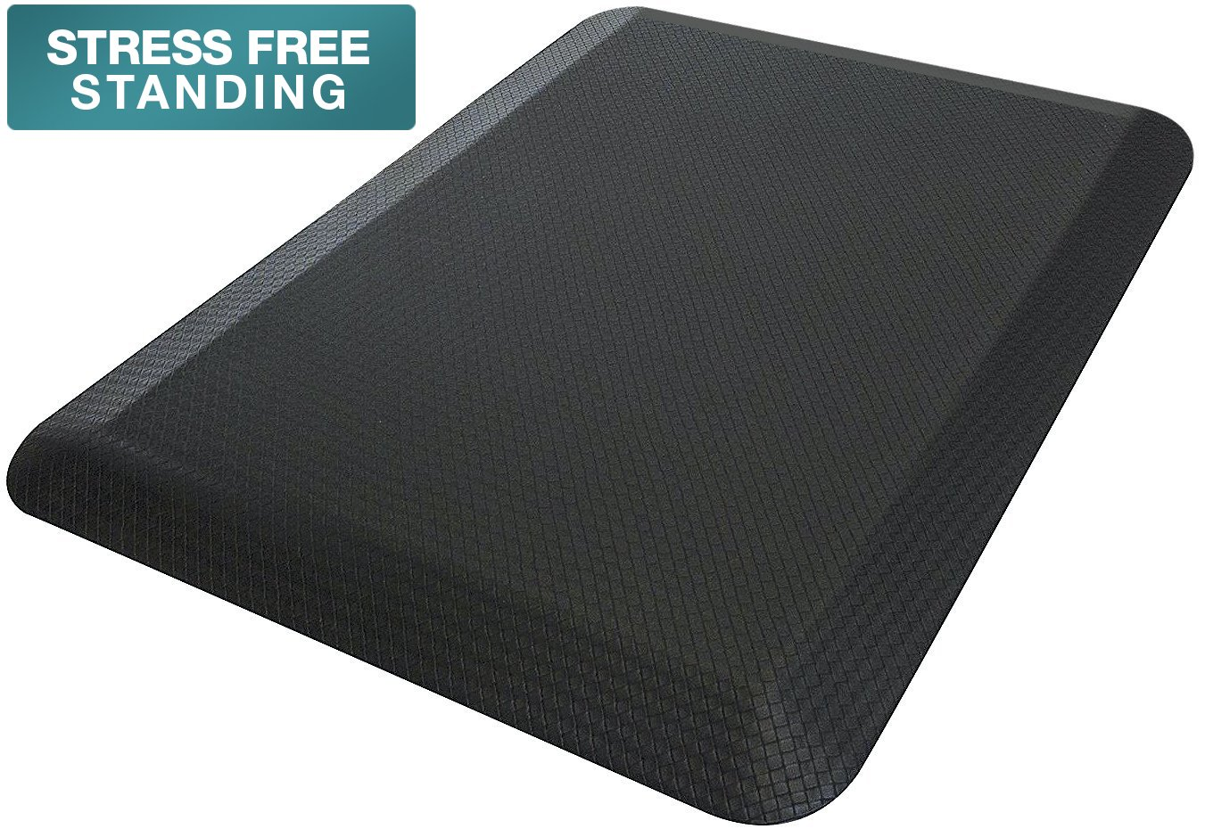 Sorbus Anti Fatigue Mat - Comfort Standing Mat Kitchen Rug - Perfect for Kitchen and Standing Office Desk (24 in x 18 in, Black) by Sorbus