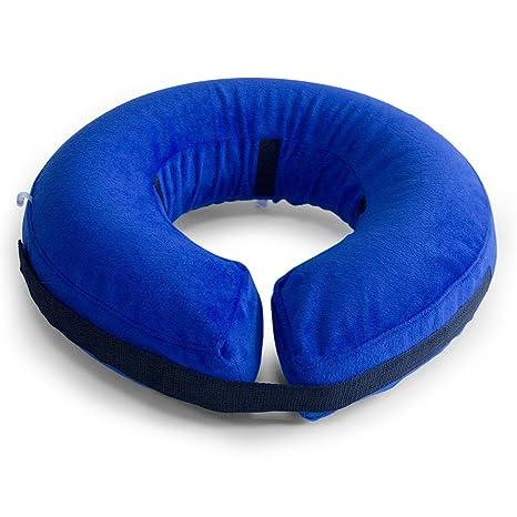 AMZTM Collar De Perro Inflable De Recuperación De Mascotas-Cuello Protector Suave para Perros (Azul, M)