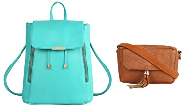 43a40aefc716 Image Unavailable. Image not available for. Colour  Lychee Bags Girls Pack  of 2 PU Cyan Backpack   Tan Sling Bag ...