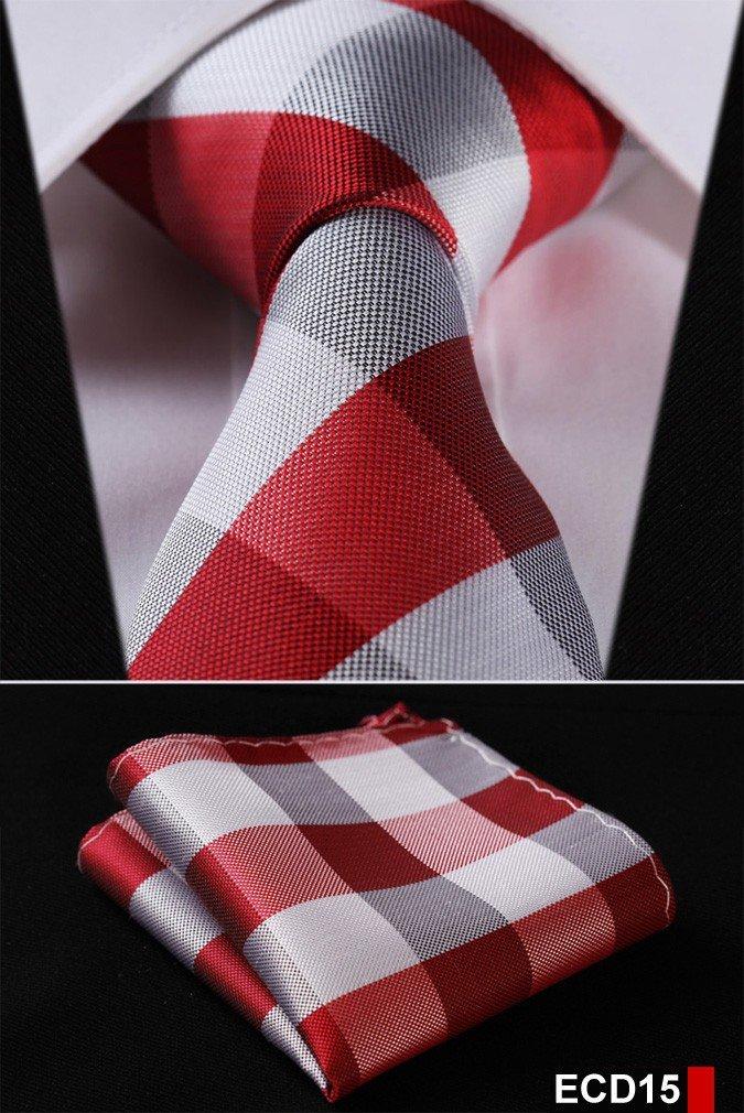 Men Tie Necktie Pocket Square Handkerchief Set Suit ECD15