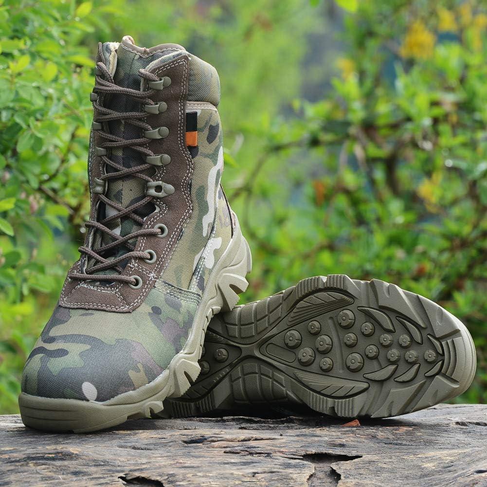 uirend Chaussures Travail Militaires Homme High Top Militaire pour Homme Tactique Bottes de Randonn/ée /à Lacets Travail Combat Tous Les Terrains R/ésistante /à lusure Boots