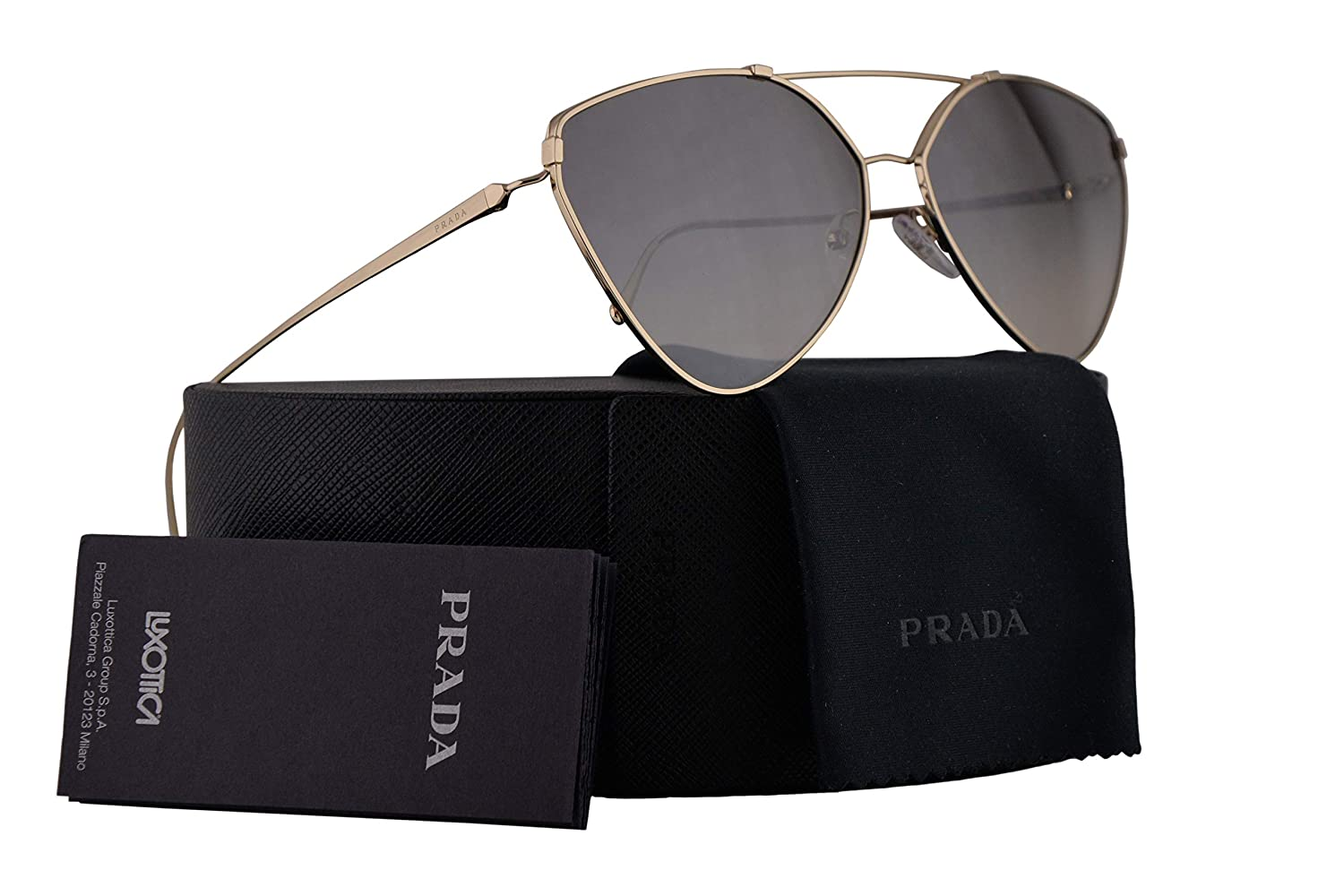9048ef1a96e6 Amazon.com  Prada PR51US Sunglasses Pale Gold w Gradient Grey Mirror Silver  62mm Lens ZVN5O0 SPR51U PR 51US SPR 51U  Clothing