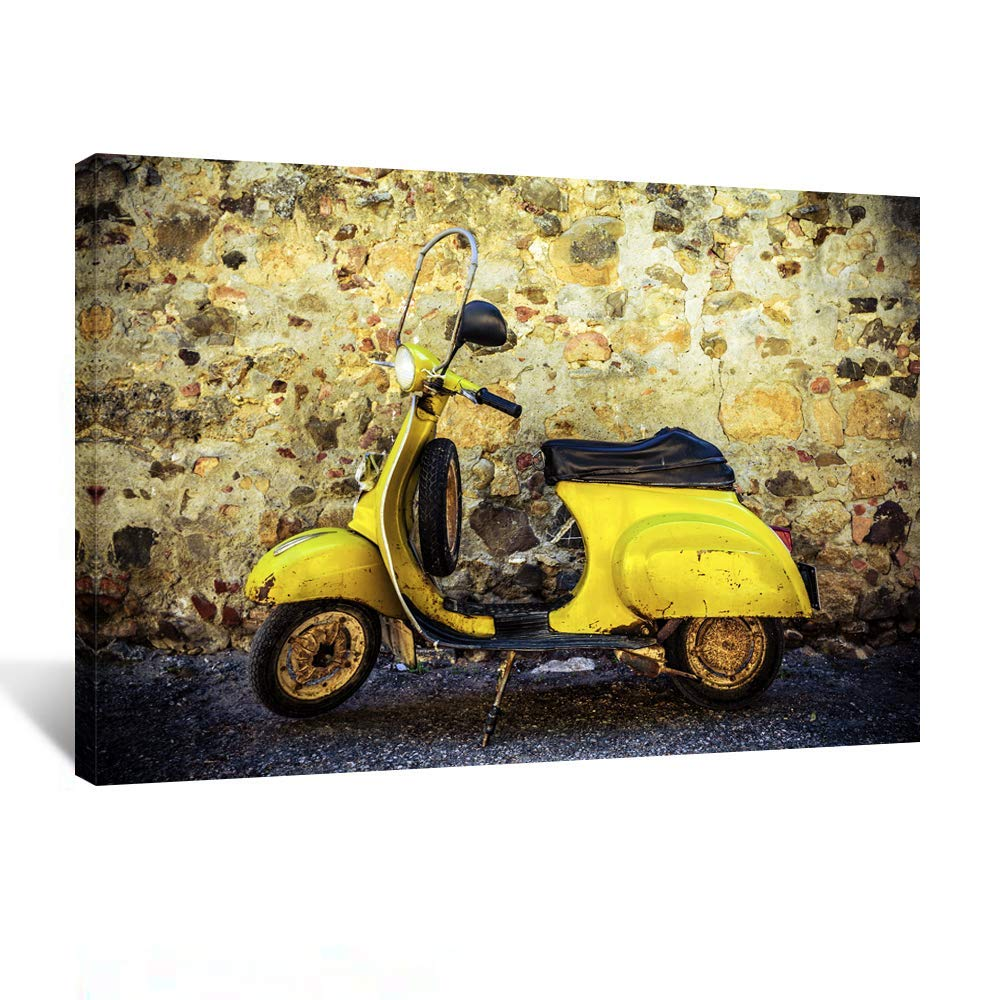 Kreative Arts Giclee Canvas Print Yellow Vintage Scooter Wall Decoration Photography Art Image Printed on Canvas Stretched and Framed Ready to Hang Farmhouse Decor for The Home 24x36inch by Kreative Arts