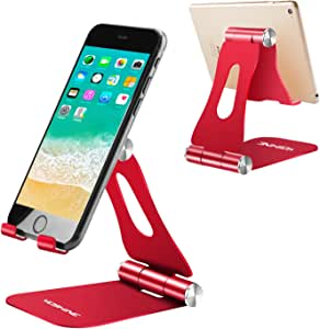 "Adjustable Cell Phone Stand, YOSHINE Foldable Cell Phone Holder, Universal Tablet Stand Holder Cradle, Dock, Compatible with Phone 12 11 Xs XR 8 X 7 6 6s Plus SE 5 5s 5c, Accessories Desk, All Android Smartphones and Tablets (4-13"") - Red"