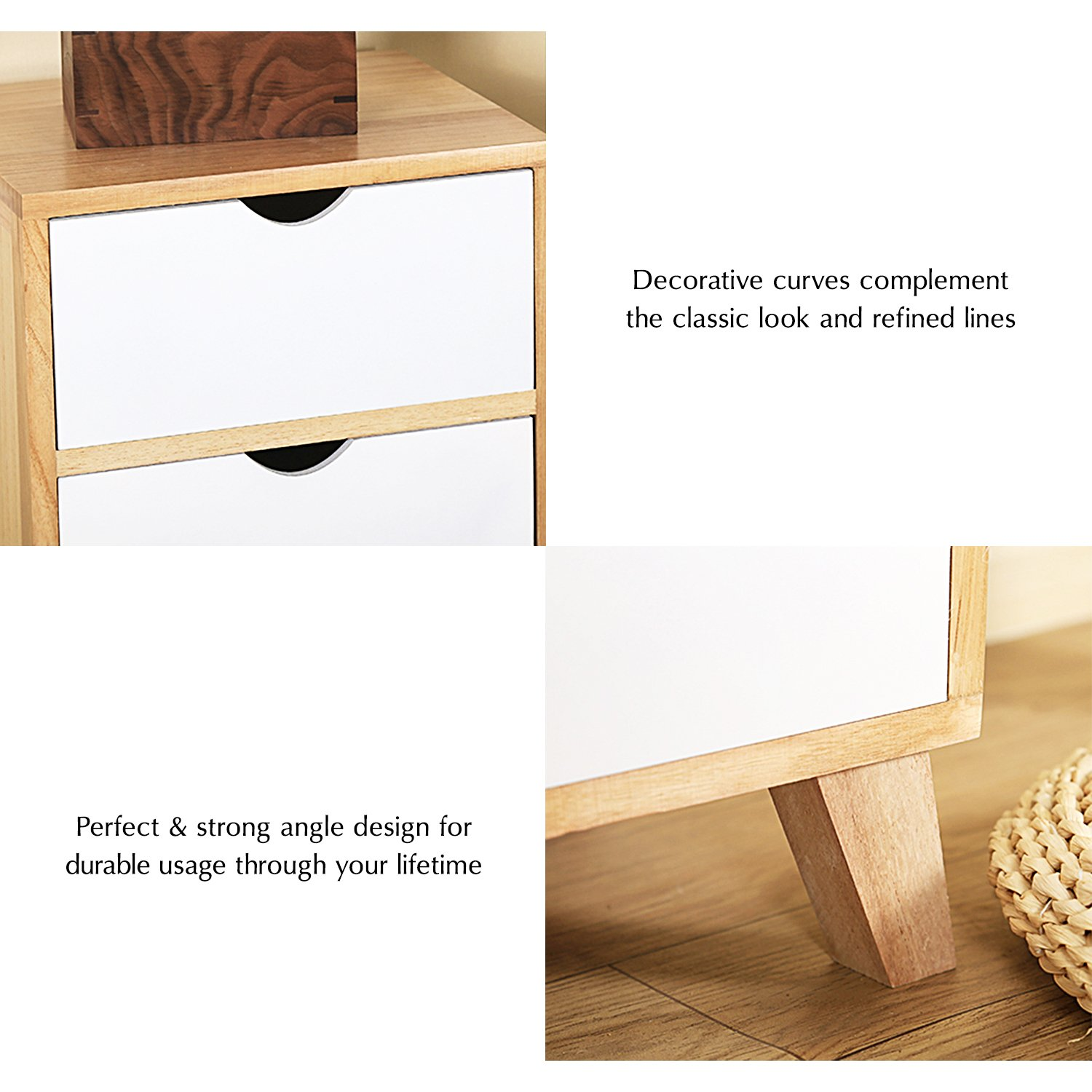 Jerry & Maggie - Nightstand - 2 Tier Curving Pattern Sides Night Stand Storage Bedside Table with 2 Drawer Real Natural Paulownia Wood (2 Tier   Cubric Style) by Jerry & Maggie (Image #5)