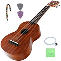 Soprano Ukulele Beginners, Strong Wind 21 Inch Soprano Ukulele Starter Kit Hawaiian Uke KOA Body with Extra Premium Strings, Strap, Picks and Cleaning Cloth for Kids Children Adults Students