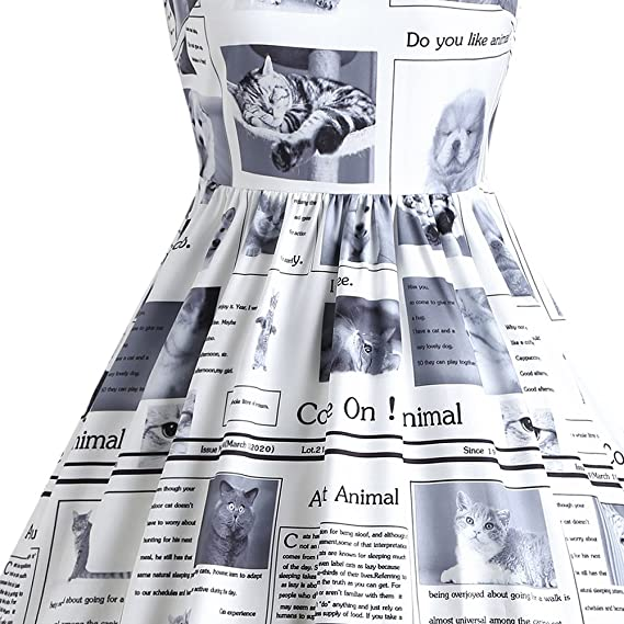 Mujer Vestido Elegante de Trapecio 1950s Vintage Vestido Casual sin Mangas Estampado de Gatito Perrito para Cóctel Fiesta, M - 2XL: Amazon.es: Ropa y ...