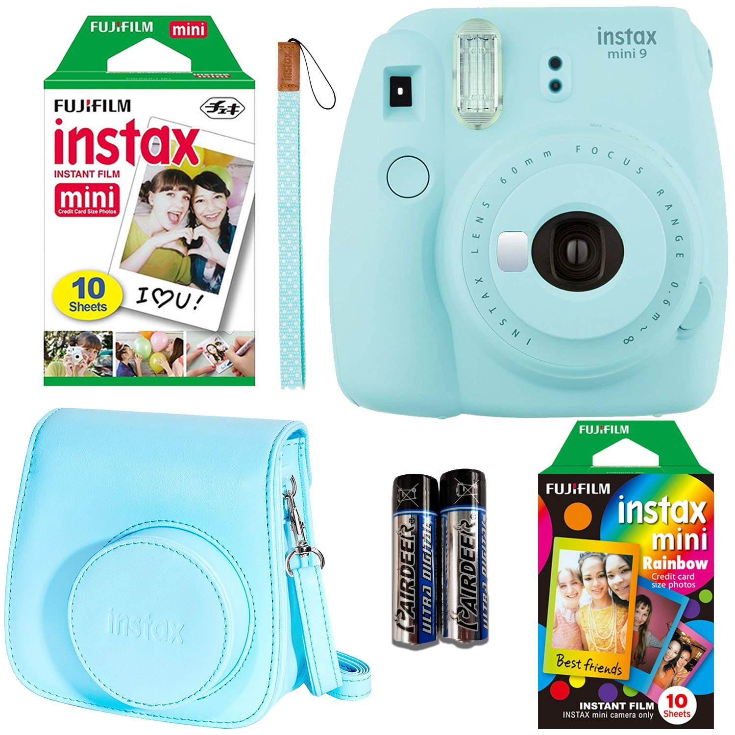 Fujifilm Instax Mini 9 Ice Blue Instant Camera with Two Fun Film Packs - One Rainbow and One White - 20 Exposures with Accessories