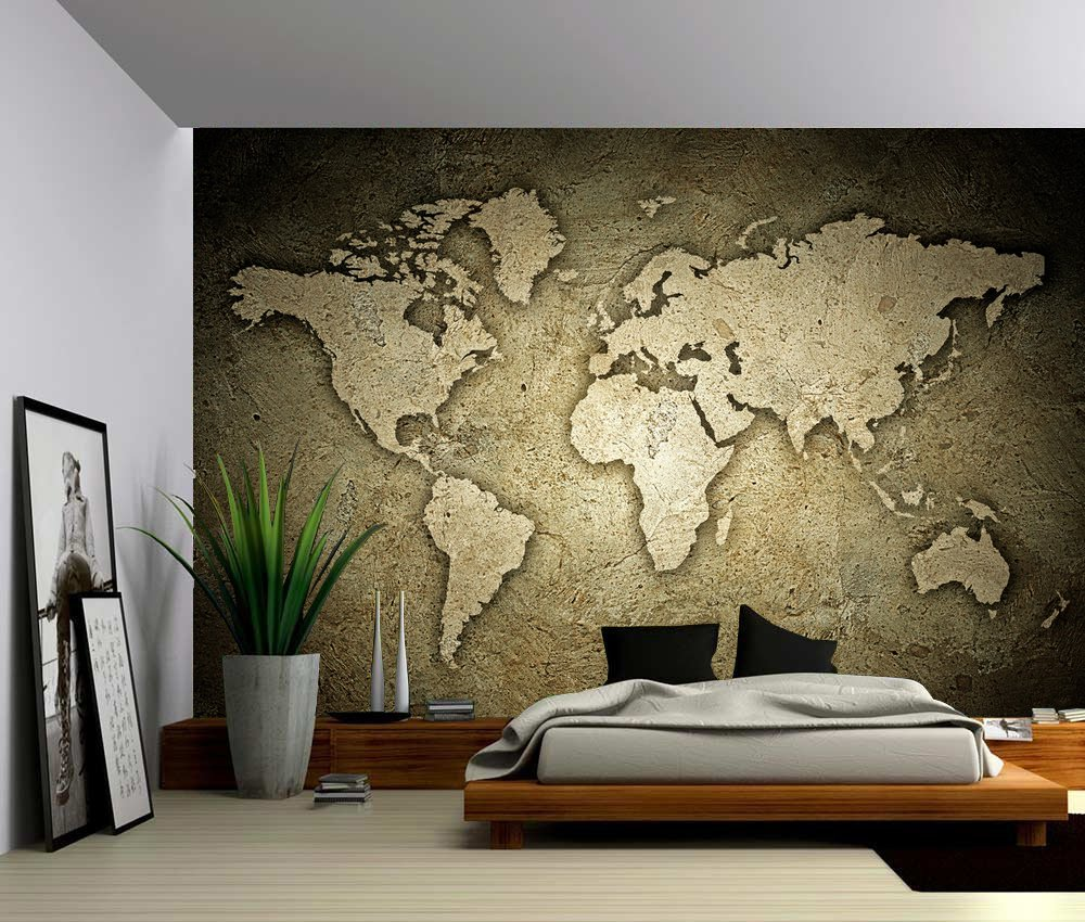 Picture Sensations Canvas Texture Wall Mural, Sepia Stone Texture World Map, Self-adhesive Vinyl Wallpaper, Peel & Stick Fabric Wall Decal - 144x96 by Picture Sensations (Image #1)
