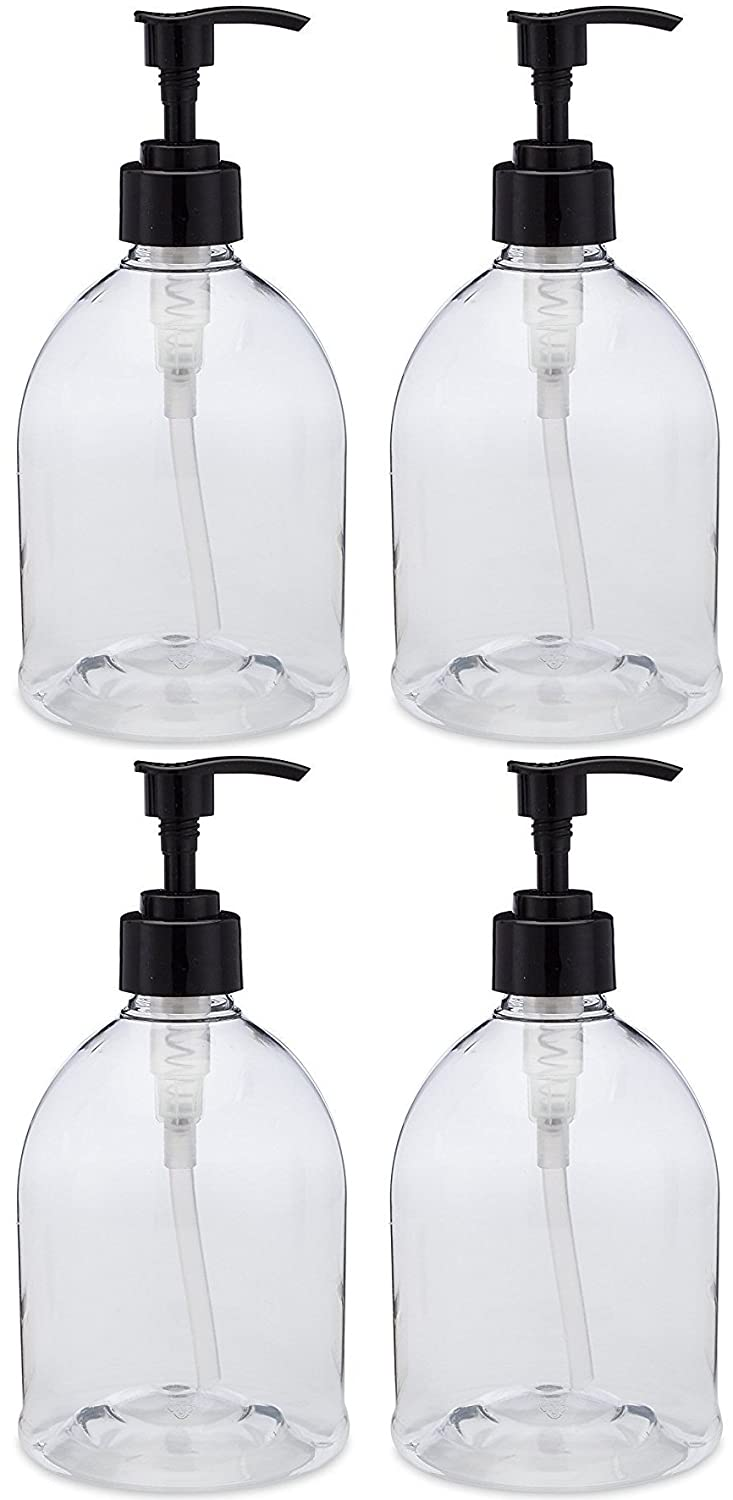 4 Pack with Patented Screw-On Funnel Earth s Essentials Versatile 16 Ounce Refillable Designer Pump Bottles. Excellent Liquid Hand Soap, Homemade Lotion, Shampoo and Massage Oil Dispensers.