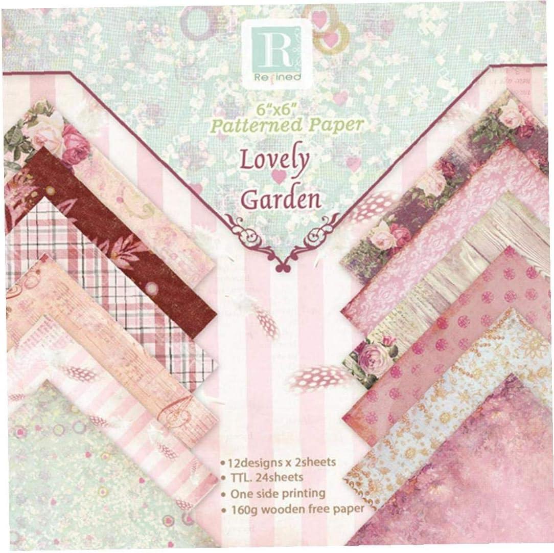 Origami di carta Scrapbook carta 24Sheet floreale Cartoncino Carta depoca fai da te album album di carta Carta