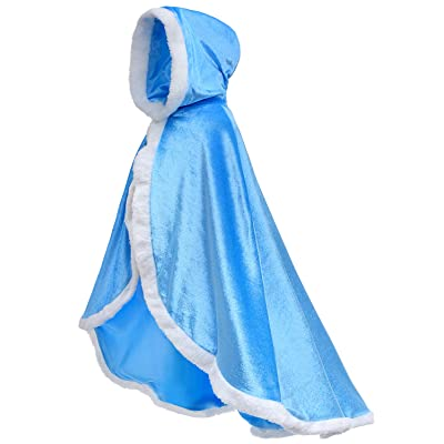 Party Chili Fur Princess Hooded Cape Cloaks Costume for Girls Dress Up 2-12 Years: Clothing