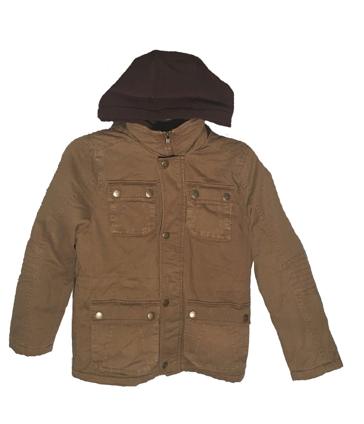 Urban Republic Boys Twill Faux Sherpa Lined Hooded Jacket, Large