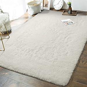 Andecor Soft Fluffy Bedroom Rugs - 5 x 8 Feet Indoor Shaggy Plush Area Rug for Boys Girls Kids Baby College Dorm Living Room Home Decor Floor Carpet, Cream