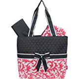 Coral Damask Print NGIL Quilted 3pc Diaper Bag