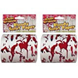 Forum Novelties Bloody Bathroom Toilet Paper, Red/White - Pack of 2