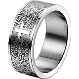 OIDEA Anello acciaio inossidabile Uomo Donna Croce Bibbia(spagnolo) argento promessa,misura da scelta