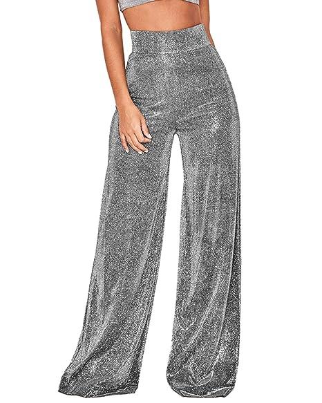 Anlydia Womens Sexy Metallic Sparkly High Waist Flare Pants ...