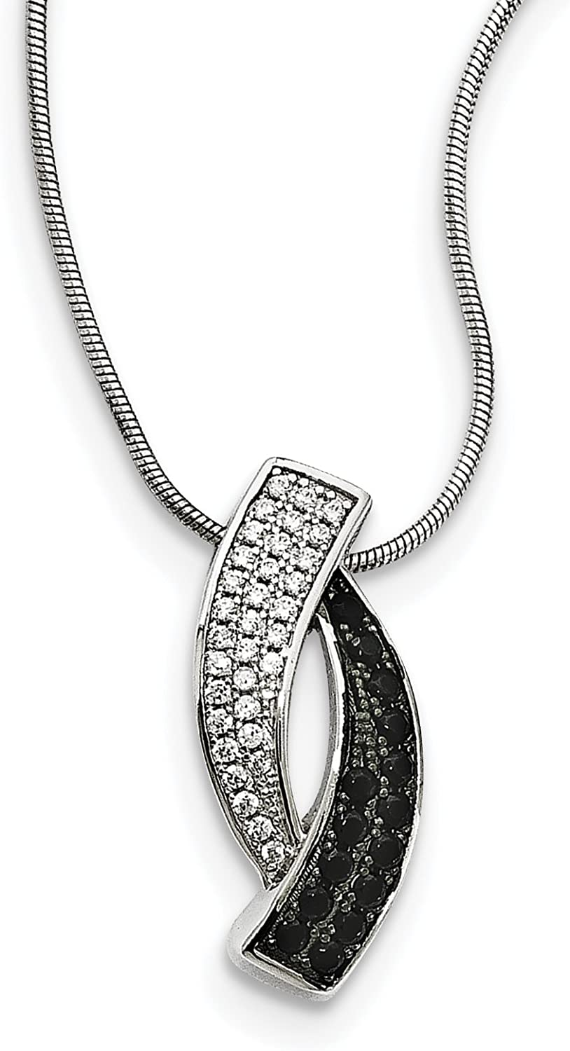 Sterling Silver Black Spinel /& CZ Brilliant Embers Necklace