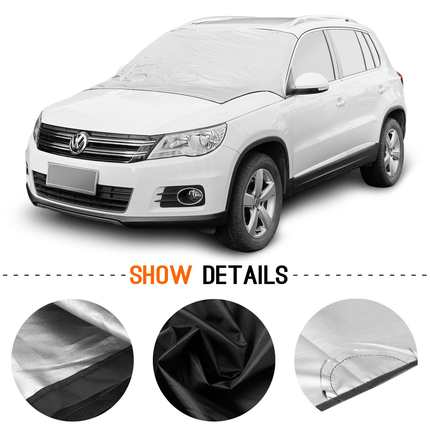 Magnetic; 215 * 125 cm Magnetic Snow Multi-used as Outdoors Picnic Mats Ice and Frost Guard Fits SUV Truck /& Car Windshields SCM Frost Windshield Cover