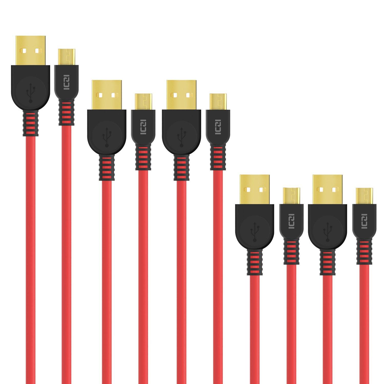 ICZI微型USB电缆,5件(0.3M * 2 + 1M * 2 + 1.8M * 1),电缆用于数据传输和补给与连接器镀金的Android,华为P9精简版/ P8精简版系列三星GALAXY J,HTC,诺基亚,LG和其他人,Red