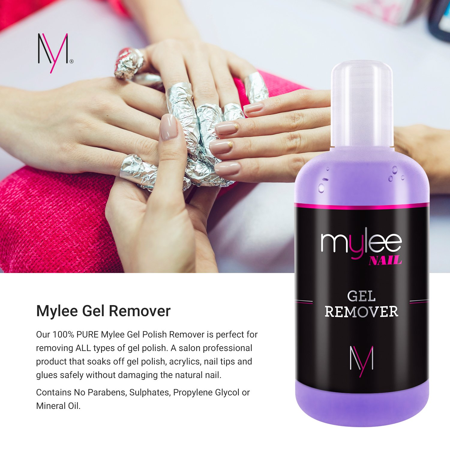 Mylee Gel Polish Remover Acetone 250ml, Salon Professional UV LED ...