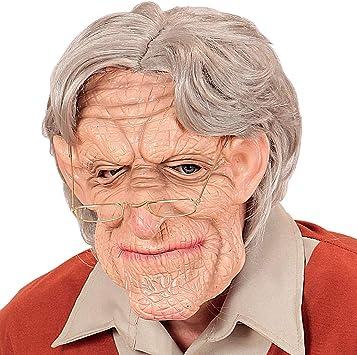 Ideale per il carnevale di strada /& feste in costume Maschera da anziano morbida in gomma Colore della pelle-grigio Maschera originale per travestimento da uomo vecchio con capelli grigi