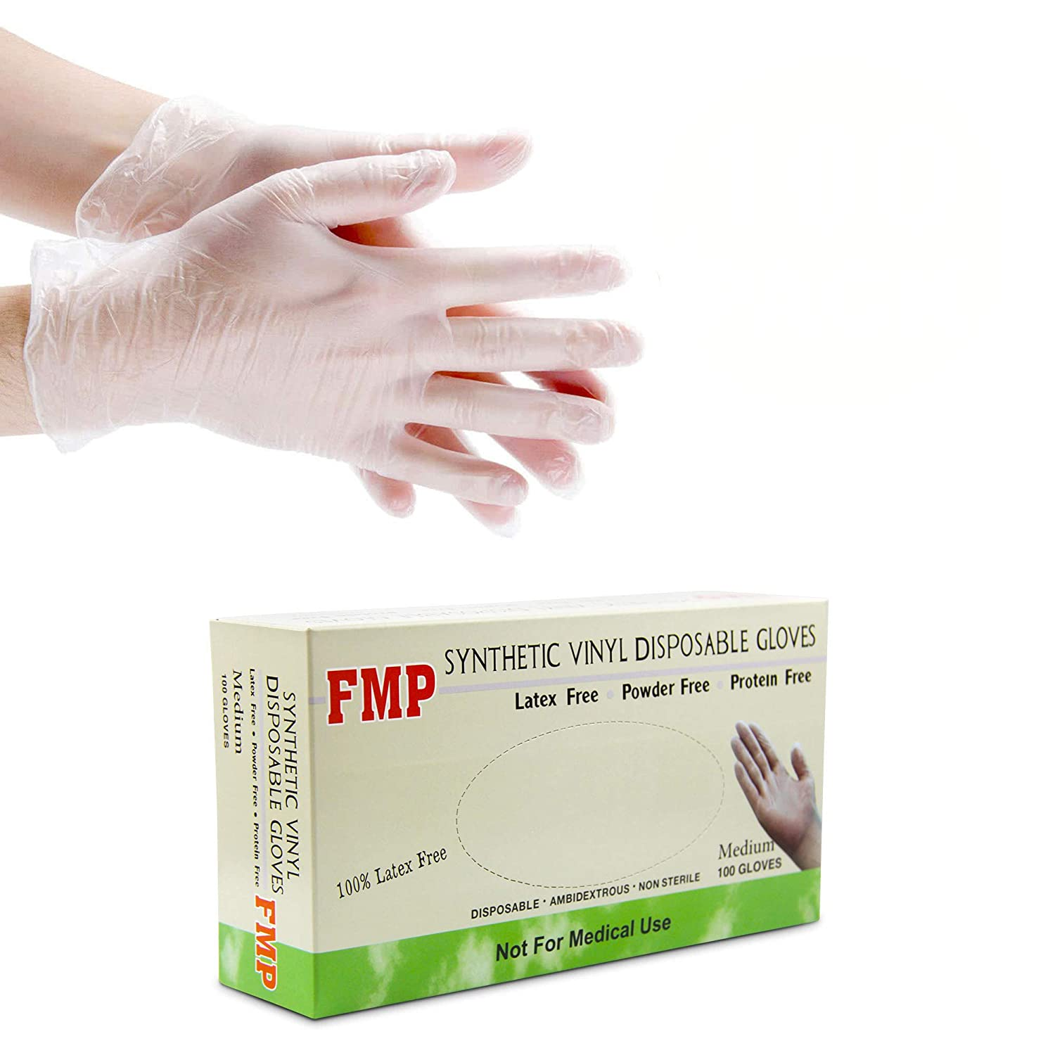 [100 Pack] Disposable Vinyl Gloves, Medium Size, Non-Sterile, Powder Free, Smooth Touch, Food Service Grade 71B2BZtpvmSL
