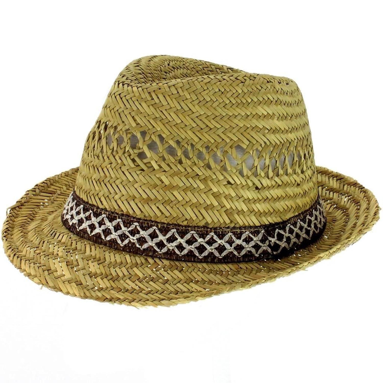 1675fb9e5 STRAW TRILBY FEDORA SUN BEACH HAT WITH BROWN/CREAM WOVEN TRIM ...